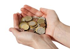 Free Woman S Hands Holding A Pile Of Different Coins Stock Photography - 18935342