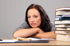 Free Tired From Homework Woman Rests Chin On Desk Stock Image - 18935711