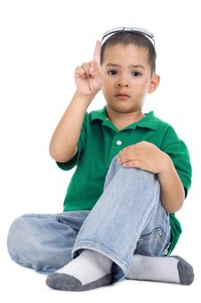 Free Boy With One Finger Raised Royalty Free Stock Image - 18938706