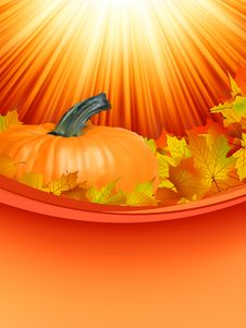 Free Colorful Autumn Card Leaves With Pumpkin. EPS 8 Royalty Free Stock Photos - 18939198