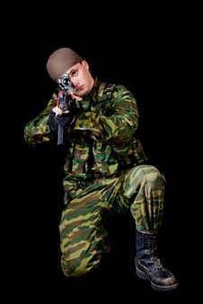 Free Soldier With Weapon Stock Photography - 18939462