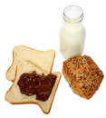 Free Bread With Chocolate And Milk Royalty Free Stock Photography - 18942757