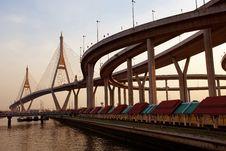Free Bhumibol Bridge In Thailand Royalty Free Stock Photo - 18940395