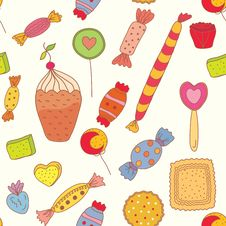 Free Seamless Pattern With Candies Royalty Free Stock Images - 18941039