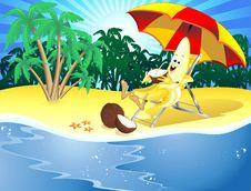Free Funny Cartoon Banana On Exotic Beach Stock Photos - 18941053