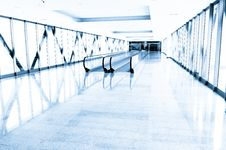Free Blue Glass Corridor In Office Centre Royalty Free Stock Photos - 18943838