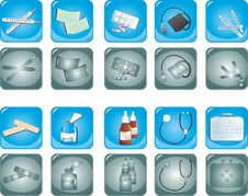 Free Set Of Medical Buttons Royalty Free Stock Photo - 18943875