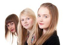 Portrait Of Three Girls Stock Image