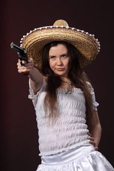 Mexican Girl Hold Revolver Royalty Free Stock Images