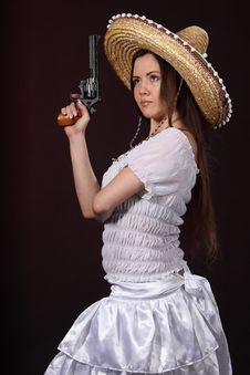 Mexican Girl Hold Revolver Royalty Free Stock Photo