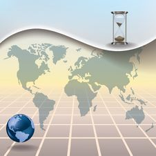 Free Abstract Illustration With Hourglass Earth Map Royalty Free Stock Images - 18944409