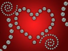 Free Heart Illustration With Diamonds Royalty Free Stock Photo - 18945525