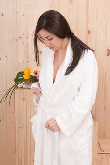 Free Beautiful Woman With Bathrobe Stock Photo - 18945790
