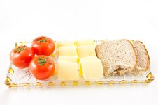 Free Plate With Tomatoes - Chesse - Bread Stock Photography - 18945832