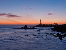 Free Pigeon Point Lighthouse Sunset Stock Photography - 18946712