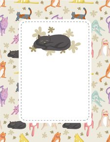Free Cartoon Cat Card Stock Photography - 18947712