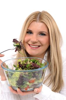 Pretty Woman Eating Green Vegetable Salad Stock Photos