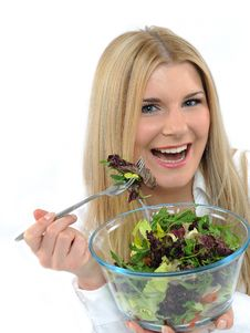 Free Pretty Woman Eating Green Vegetable Salad Royalty Free Stock Image - 18948556