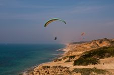 Free Paraglider Over  Mediterranean Sea . Royalty Free Stock Photography - 18949047