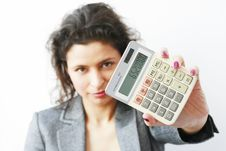 Free Businesswoman Showing A Calculator Stock Photo - 18949740