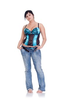 Beautiful Sexy Model In Corset Posing Stock Photography