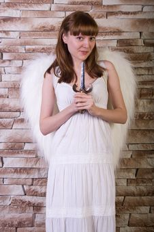 Free Angel Girl On Brick Wall Background Royalty Free Stock Images - 18949919