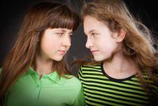 Two Young Beautiful Girls Stock Photo