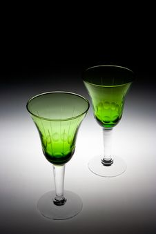 Free Two Green Glasses Stock Photo - 18950780
