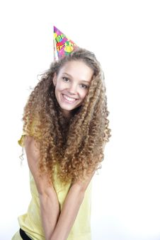 Smiling Woman In Birthday Hat Over White Stock Photography
