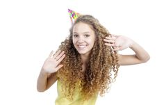 Smiling Woman In Birthday Hat Over White