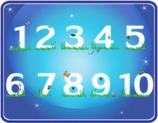Free Grass Numbers In Blue Night Sky Stock Images - 18952554
