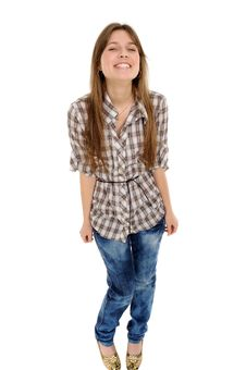 Comic Young Female Smile Against Stock Photos