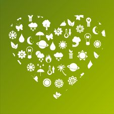 Free Ecological Heart Made Of Icons Stock Photos - 18954773