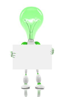 Robot With Light Bulb For Its Head Stock Photography