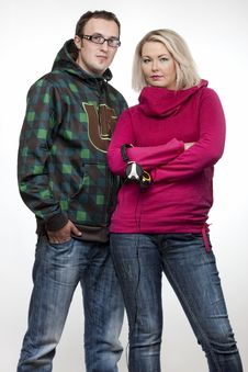 Hip-hop Young Couple Royalty Free Stock Photos