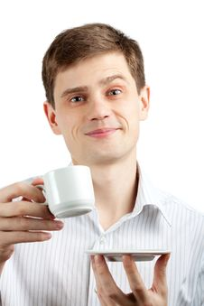 Free Smiling Businessman With A Cup. Stock Photos - 18957133