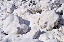 Free Snow Lumps On Roadside Stock Photography - 18957882