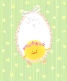 Free Easter Card With Chicken Stock Photos - 18958143