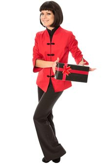 Free Gift With Red Bow Stock Photography - 18958612