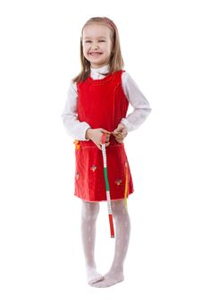 Free Little Girl Measuring Waist Stock Image - 18958891