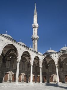 Blue Mosque Yard And Minaret In Istanbul Stock Images