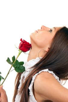 Young Woman Holding Rose In Hand Stock Photo
