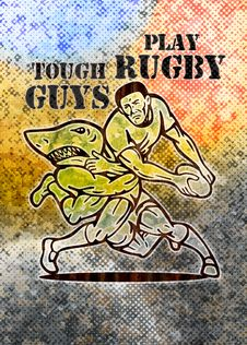 Rugby Player Running Attacked By Shark Stock Photography