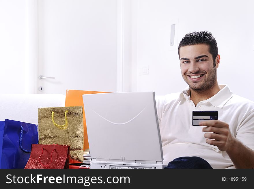 Young man in shopping on-line