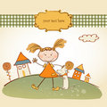 Free Funny  Background With Little Girl Royalty Free Stock Photo - 18963765