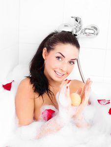Free Girl Taking A Bath Royalty Free Stock Image - 18960336