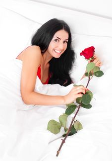 Free Woman With A Rose Stock Images - 18960394