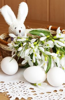 Free Toy Rabbit, Eggs And Snowdrops Stock Photo - 18960460