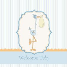 Free Welcome Baby Card With Stork Royalty Free Stock Images - 18960719
