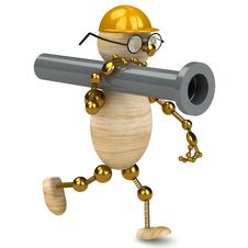 Free 3d Wood Man Carring A Pipe Royalty Free Stock Image - 18960966